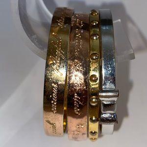 Kate Spade New York Rose Gold Gold Silver Bow Bangle Bracelets